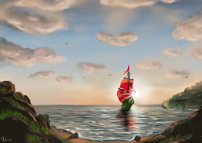 если б были мы с тобою два весла далеко бы наша лодка уплыла